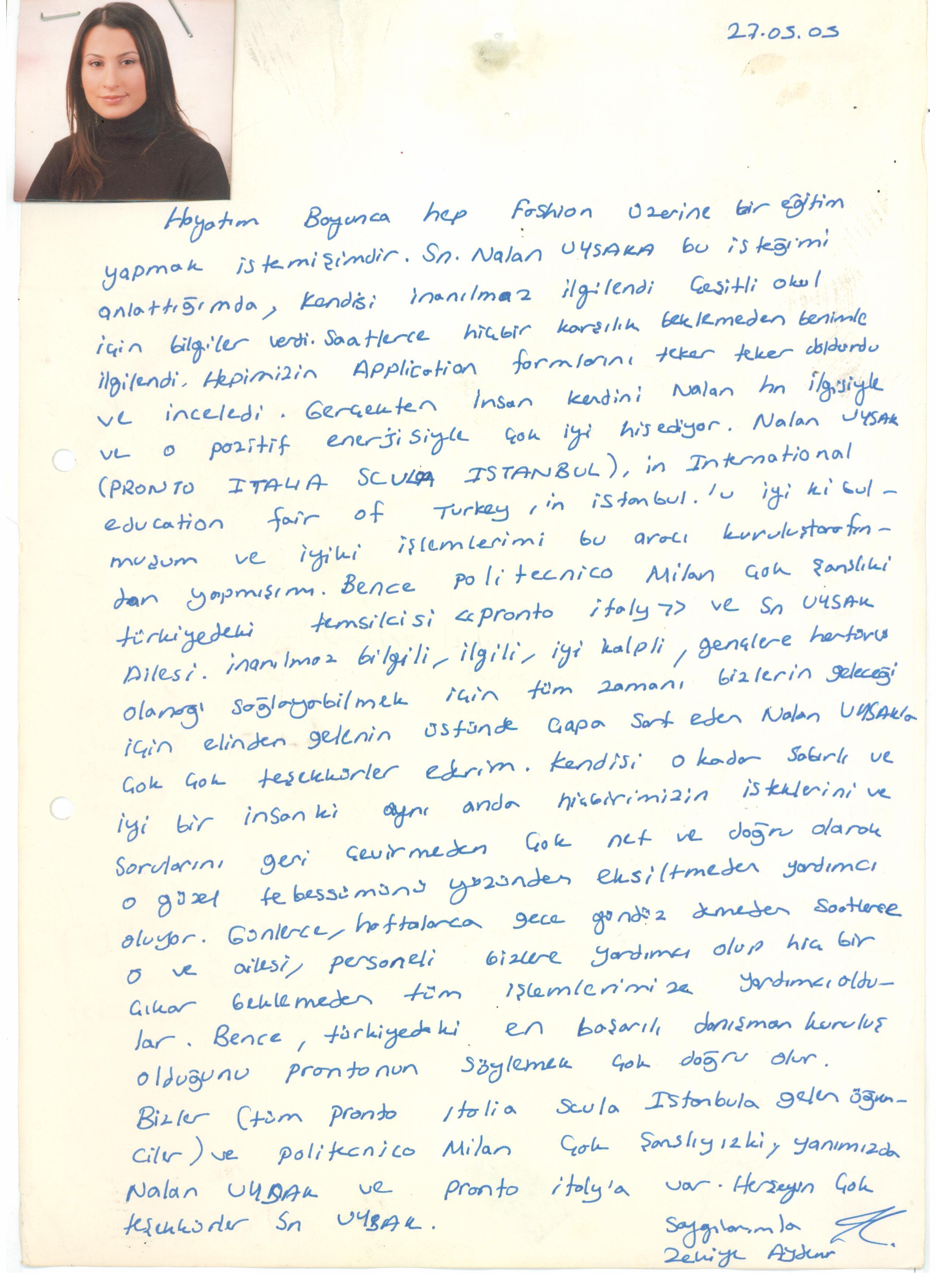 Zekiye Aydemir'in mektubu
