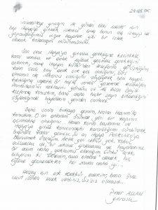 Pınar Aslan'ın yıllar önce bize ulaşan mektubu