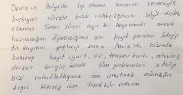 Pavia Üniversitesi Tıp Fakültesi'nde okuyan Deniz Akın'ın babası Elvan Akın'ın mektubu